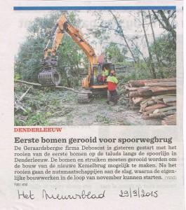 29/09/2015 Het Nieuwsblad - Rooiwerken voor nieuwe Kemelbrug te Denderleeuw